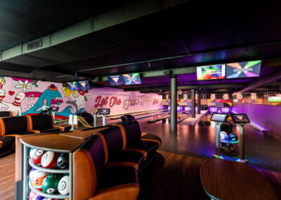 photo of Social Alley's ten pin bowling lanes