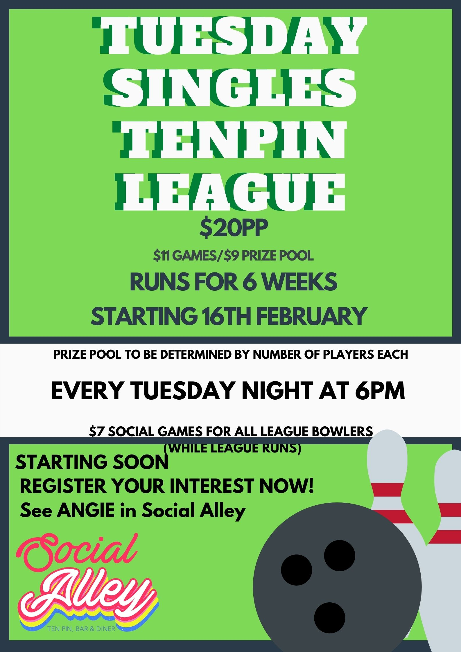 Social Alley - Tuesday Singles Tenpin league